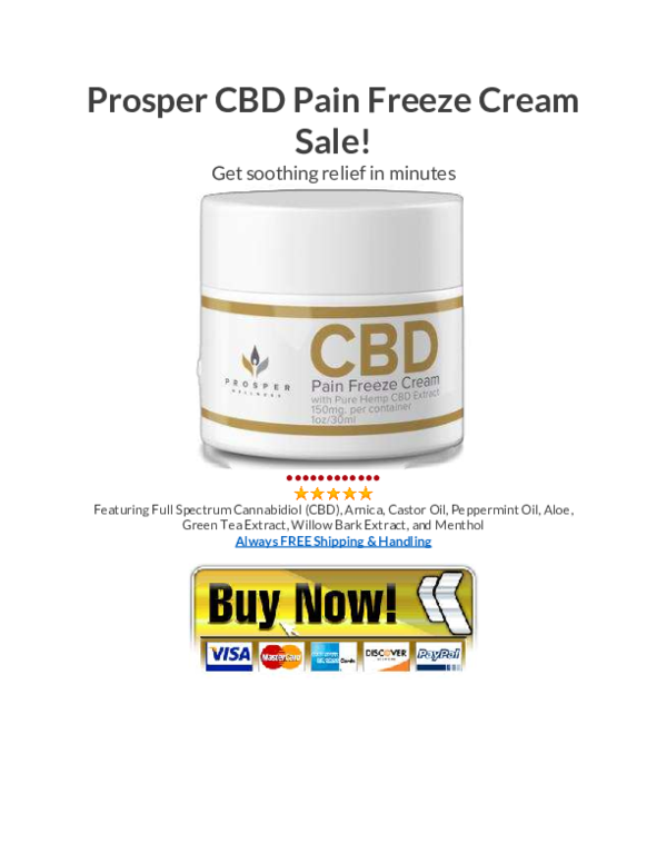 cbd pain freeze cream by prosper wellness